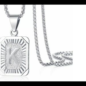 "White Gold Filled Letter K Pendant 20"" Necklace"